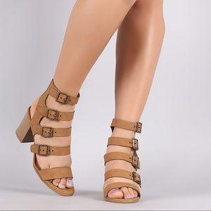 Cityclassified Tan Gladiator Chunky Heel Sandal